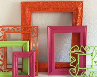 Bright Colorful Frame Collection - Set Of 6 - Hot Pink Orange Lime Green - Brights - Girls Room - Babys Nursery - Dorm Room - Neon Decor