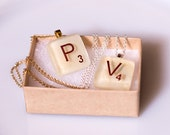 Scrabble Style Fused Glass Pendants with Chain