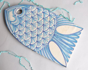 SALE 25% OFF! Danish Modern Large Fish Trivet / Wall Plate