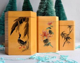 SALE 20% OFF! Vintage Bamboo Nesting Tea Caddies