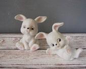 Vintage Ceramic Bunnies, Homco Bunnies, White Bunny Figurines, Vintage Homco Figurines