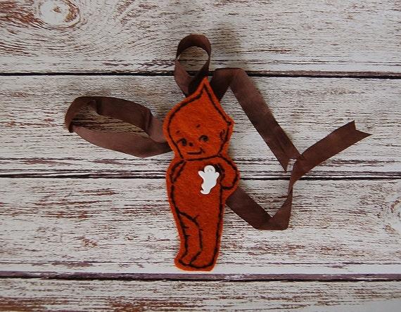 Kewpie Doll Ornament, Black Kewpie w/ Ghost Button, Halloween Decor, Felt Kewpie Doll