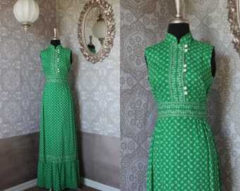 Vintage 1960's 70's Green Floral Print Maxi Dress Medium
