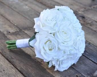 Wedding Bouquet, Keepsake Bouquet, Bridal Bouquet White rose wedding bouquet made of silk roses.