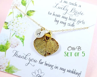Bridesmaid gifts, Gold leaf necklaces, Bridesmaid thank you gifts, SET OF FIVE Personalized Bridesmaid gifts, Bridesmaid thank you, leaf