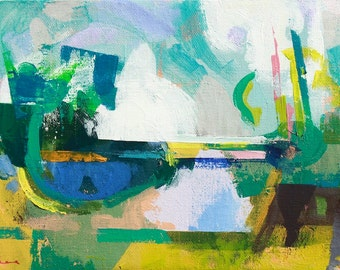 """Late summer 6 """" Original acrylic landscape painting on canvas 12"""" x 9"""" x 1"""""""
