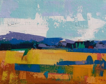 """Late summer 12"""" Original acrylic landscape painting on canvas 12"""" x 9"""" x 1"""""""