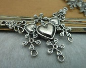 5pcs 46x64mm The Heart Box Silver White Retro Pendant Charm For necklace Jewelry /Pendants C5544