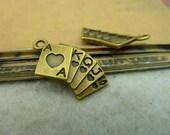 50pcs 13x23mm The Poker Antique Bronze Retro Pendant Charm For Jewelry Bracelet Necklace Charms Pendants C3978