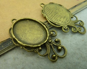 10 pcs 18x22mm Antique Bronze  Cameo Cabochon Base Setting Tray Blanks Pendants Charm Pendant C3623