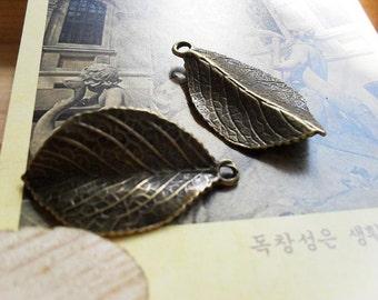 10pcs 20x36mm The Leaves  Antique Bronze Retro Pendant Charm For Jewelry Bracelet Necklace Charms Pendants C25