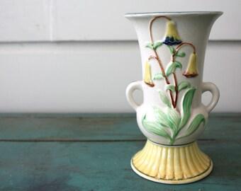 Fluted Floral Vase, Vintage Vase, Handled Vase, Vintage Decor