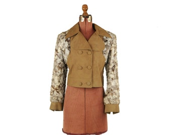 Vintage 1970's Light Tan Faux Suede + Fur Retro Double Breaded Funky Crop Jacket Coat M