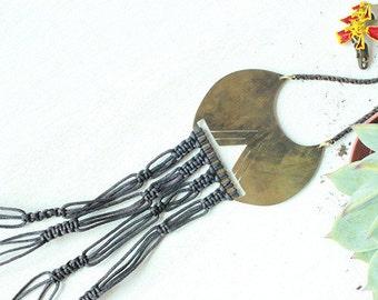 Yael. Macrame + Brass Statement Necklace.