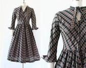 1950s Dress / Checkered New Look Dress / 1950s New Look / Necktie Dress / Full Skirt Dress / Extra Small XS