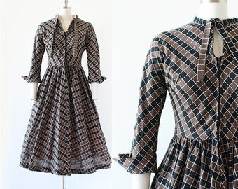 1950s Dress / Checkered New Look Dress / 1950s New Look / Necktie Dress / Full Skirt Dress / Extra Small XS