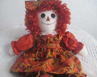 Handmade ;Fall Raggedy Ann Doll