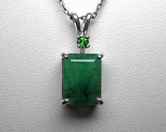 Emerald and Tsavorite Garnet Pendant in Silver, 10.5 x 8 mm
