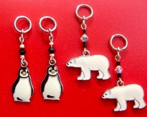 Penguin and Polar Bear... Hearing Aid Charms or Earrings