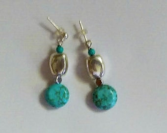 Turquoise Silver Post Earrings