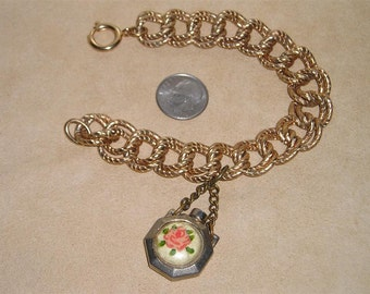 Vintage Charm Bracelet With Perfume Bottle Holder With Rose Pattern 1950's Jewelry 2257