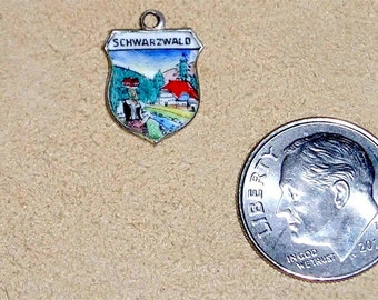 Vintage Signed 800 Silver On Enamel Travel Shield Schwarzwald Charm Or Pendant 1960's Jewelry 3065