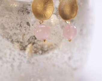 "Rose Quarz Gold Earrings ""Elegant Rose Quarz"". Bridal Jewelry. Rose Earrings."
