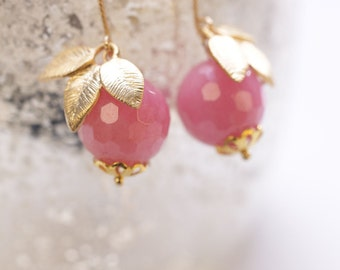 "Rose Quartz Gold Earrings ""Tender Rosequartz"". Bridal Jewelry. Rose Earrings."