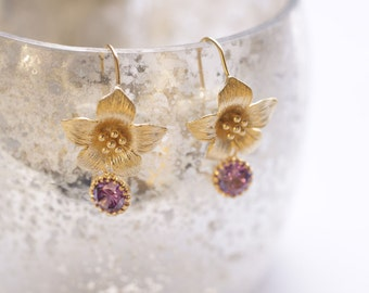 """Gold Flower Earrings  """"Lilac Zirconia"""". Bridal Jewelry. Rose Earrings."""