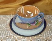 Vintage & newer Mismatched Teacup, Saucer, bread and butter / dessert plate trio, Noritake, Lustreware, Meito, Japan