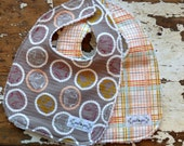 Baby Bibs - Set of 2 - Bouncing Elephants & Honey Plaid - Gender Neutral - Boy or Girl - Peach, Mint and Grey
