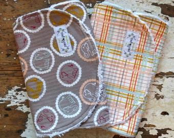 Burp Cloths - Bouncing Elephants and Honey Plaid - Set of 2 - Gender Neutral - Peach, Mint and Grey