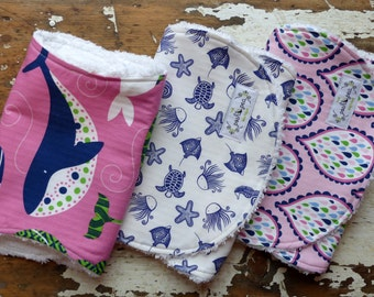 Baby Girl Burp Cloths - True Blue Whales PInk, Sea Creatures and Droplets - Set of 3 - Nautical - Pink, Blue and Green