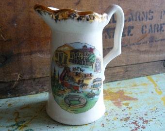 Vintage New Orleans Souvenir Pitcher, Creamer Featuring Mardi Gras, Cabildo, Sugar Bowl, Old Absinthe House, etc.