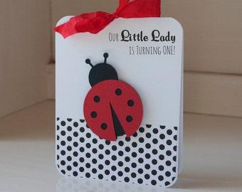 Ladybug First Birthday Party Invitations Baby Shower Baby Girl Lady Bug Red Black Polka Dots