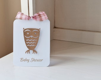Owl Invitations Baby Shower Birthday Party Autumn Fall Themed Pink and Brown Plaid Kraft