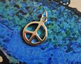 Sterling Silver Peace Sign Charm  with Sterling Jump Ring Single-sided Diamond Cut Flat Round Earrings Jewelry
