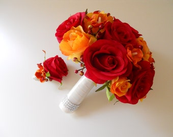 Shades of Red and Orange Bridal Bouquet with matching bout