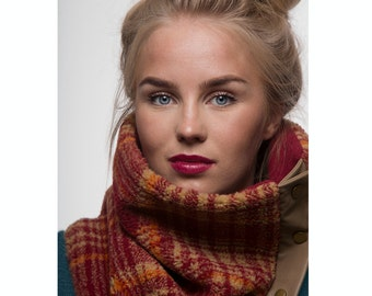 Winter cowl with snaps, shades of burgundy red and beige, fleece - non-wool (perfect for wool allergies)