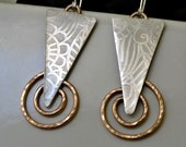 etched sterling silver and 14K gold filled artisan earrings.