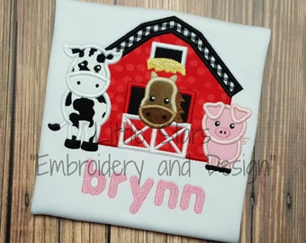 Barn with Cow, Horse and Pig - Appliqued and Personalized