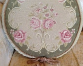 Beautiful Petit Point Antique Aubusson Round Pillow