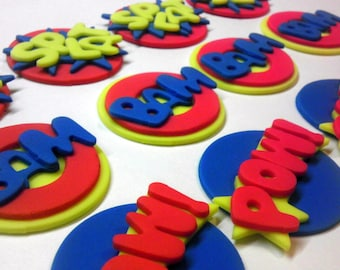"""Classic Superhero, Baby Shower, Birthday, Homecoming, Graduation, Personalized, Edible Fondant, 5"""" Cake Top and/or Cupcake Toppers"""