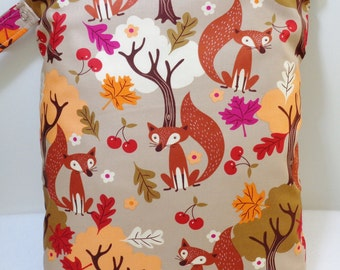 "Large wet bag. 13"" X 16"". Fall Fox print fabric.Heat sealed seams. Ready to Ship"