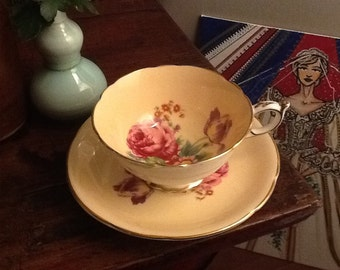 Vintage Paragon Teacup and Saucer Pale Peach and Gold Pattern Made in England Bone China