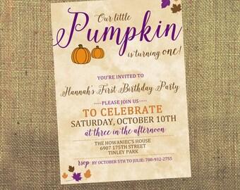 Pumpkin First Birthday Invitations - Fall First Birthday - Girls First Birthday - Little Pumpkin Birthday Invitations