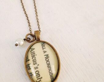 "To Kill A Mockingbird Necklace. Vintage Bookpage. ""Atticus"""