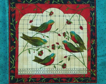 Bird Song, Kathy Schmitz,  Moda Fabric Panel 5980, Birds and Flowers, Printed Blocks, Teal Red Cream, for Quilt Throw, Pillows, Wallhanging