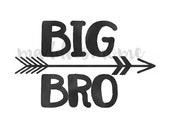 Big Brother DIY Iron on T Shirt Transfer Watercolor Arrow Tribal Black (Big Bro Brush Arrows)