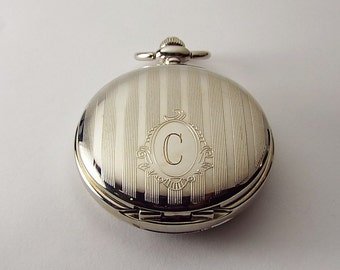 Pocket Watch Custom Engraved Personalized Mechanical Wind Up Pocket Watch with Classic Striped Design and Oval  - Hand Engraved